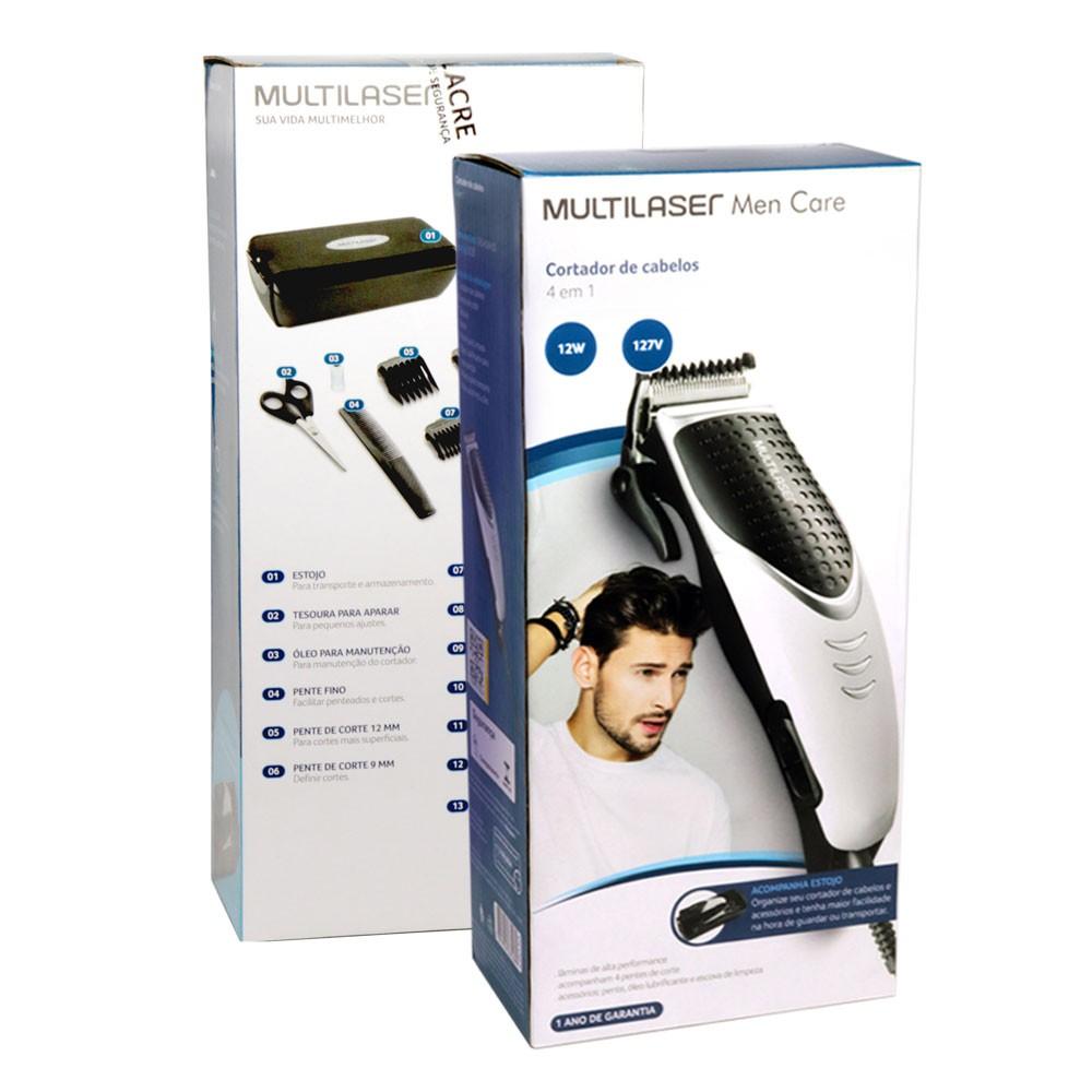 Máquina de Cortar Aparar Cabelo Barba 4 Em 1 EB030 Multilaser com Estojo 12W 127V Men Care