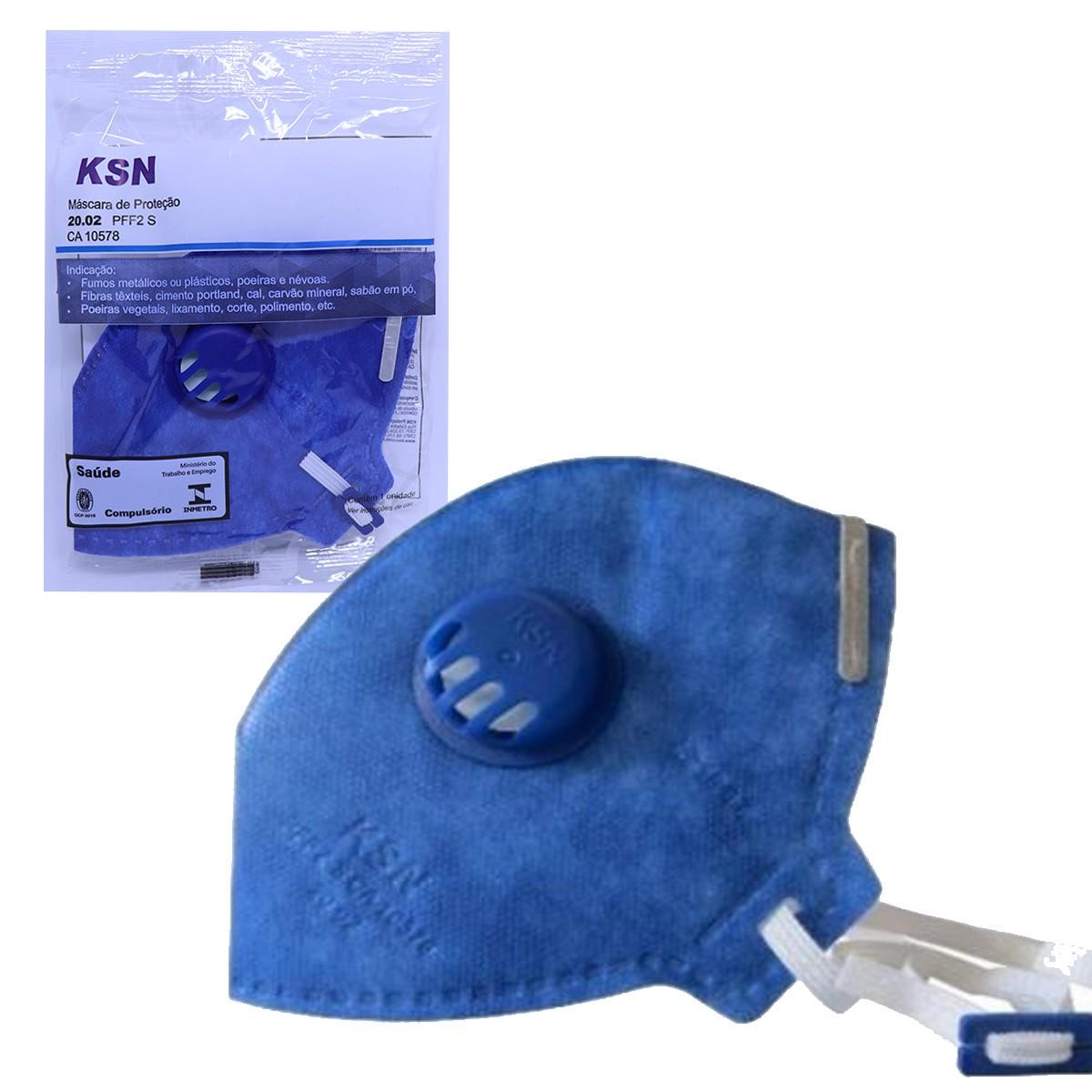 Máscara De Proteção Hospitalar Ksn N95 PFF2 Inmetro c/ Válvula CA 10578