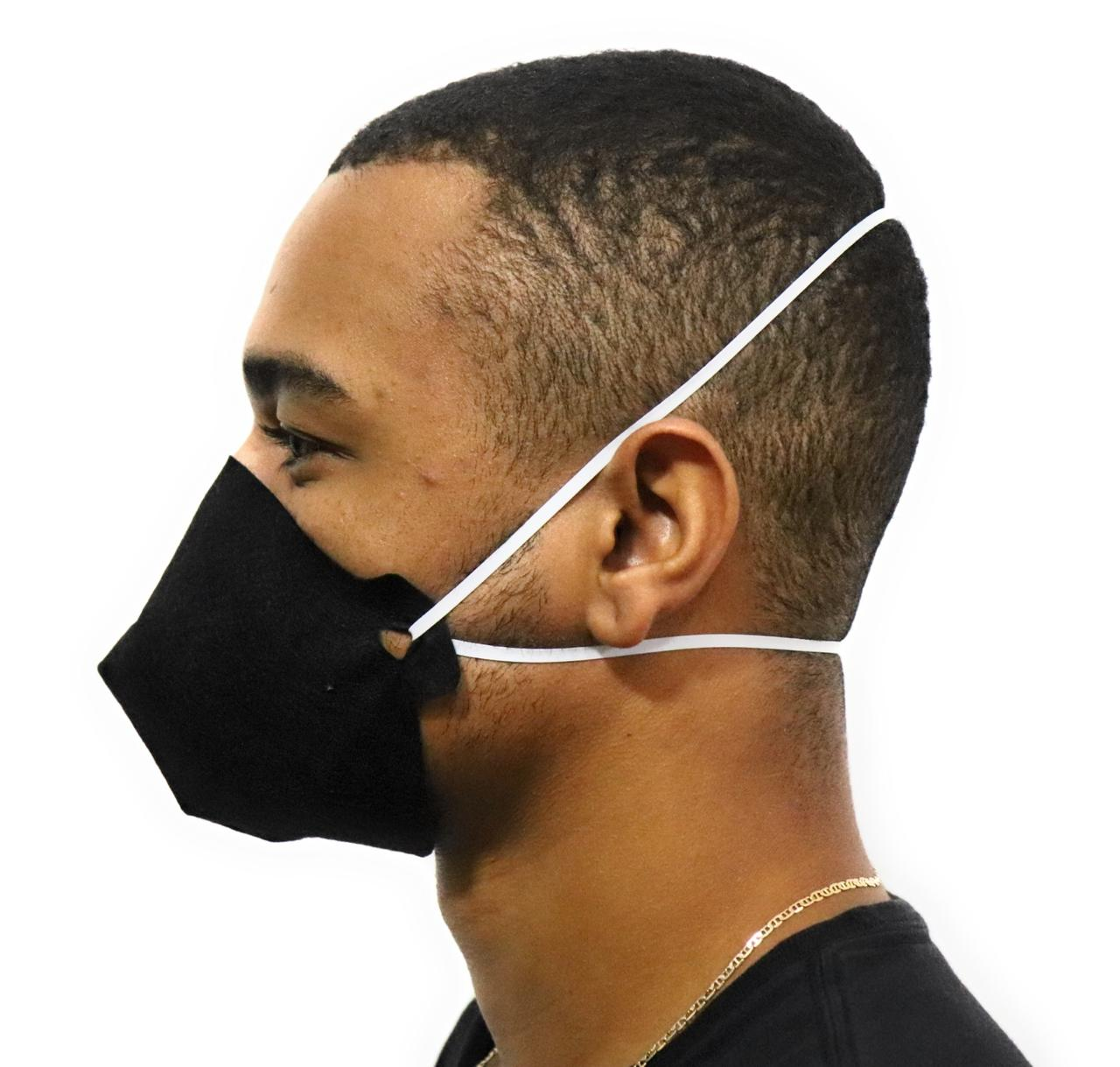 Máscara de Proteção Preta Reutilizável Spunbond Lavável Saúde
