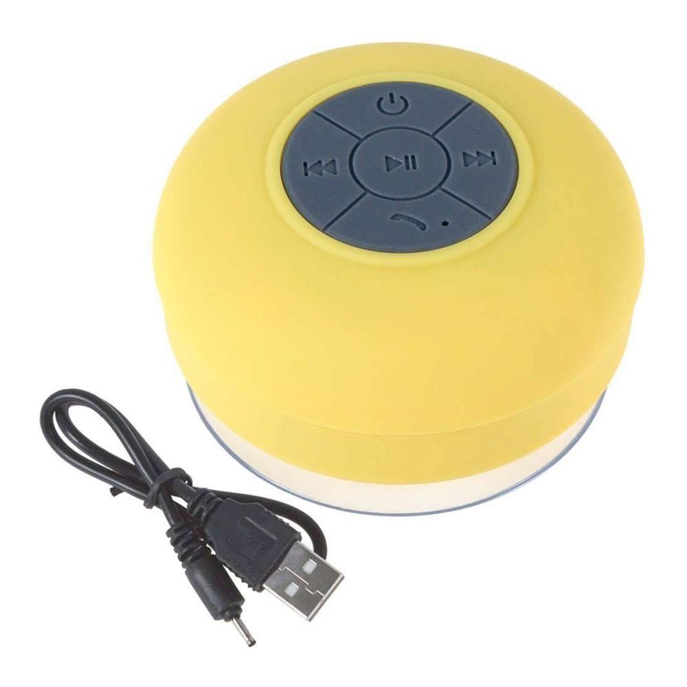 Mini Caixa Som Bluetooth Portátil Prova De Água Ventosa Amarelo