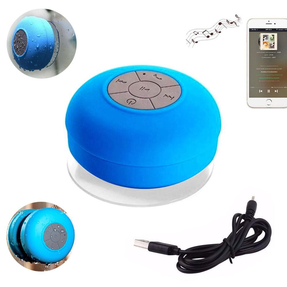 Mini Caixa Som Bluetooth Portátil Prova De Água Ventosa Azul