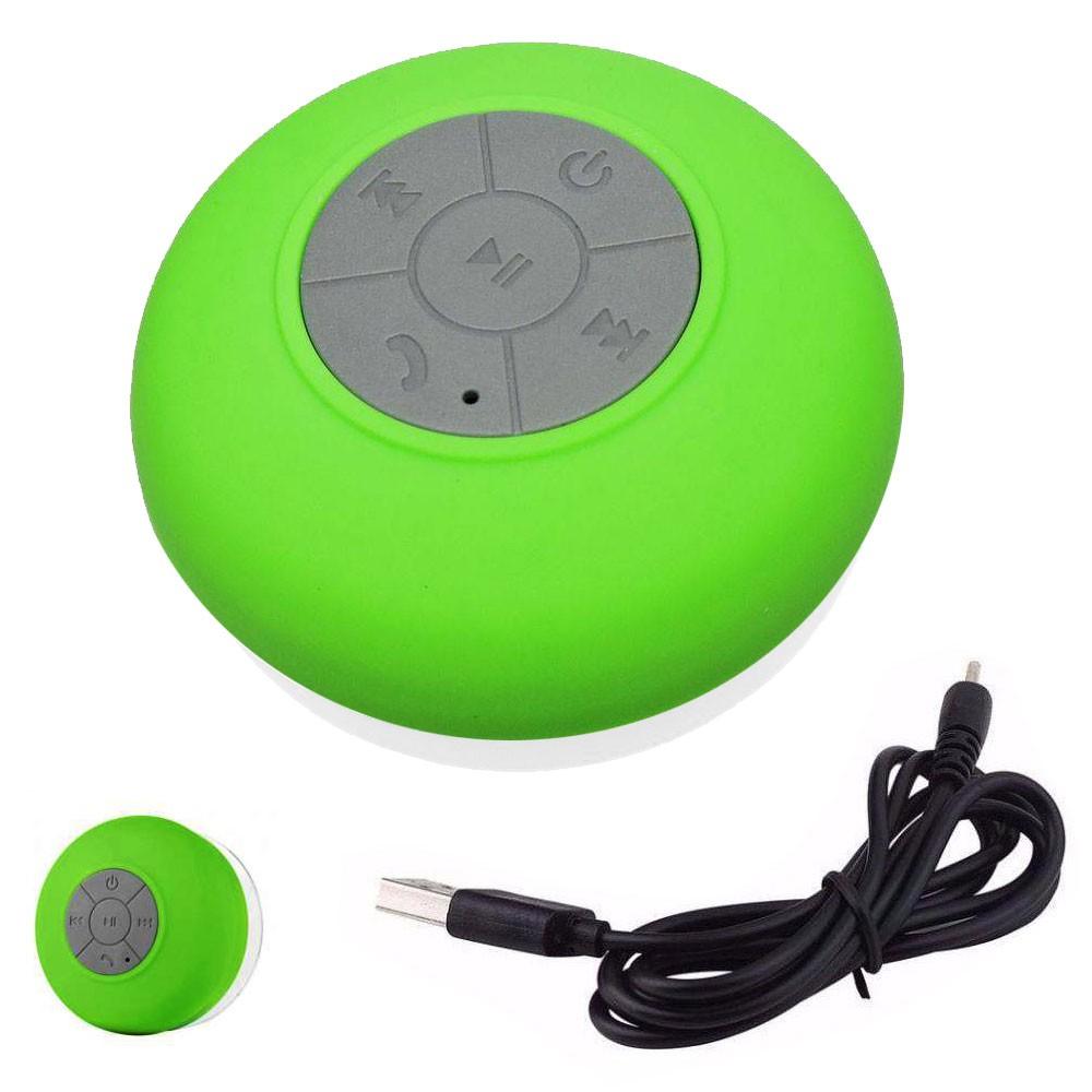 Mini Caixa Som Bluetooth Portátil Prova De Água Ventosa Verde