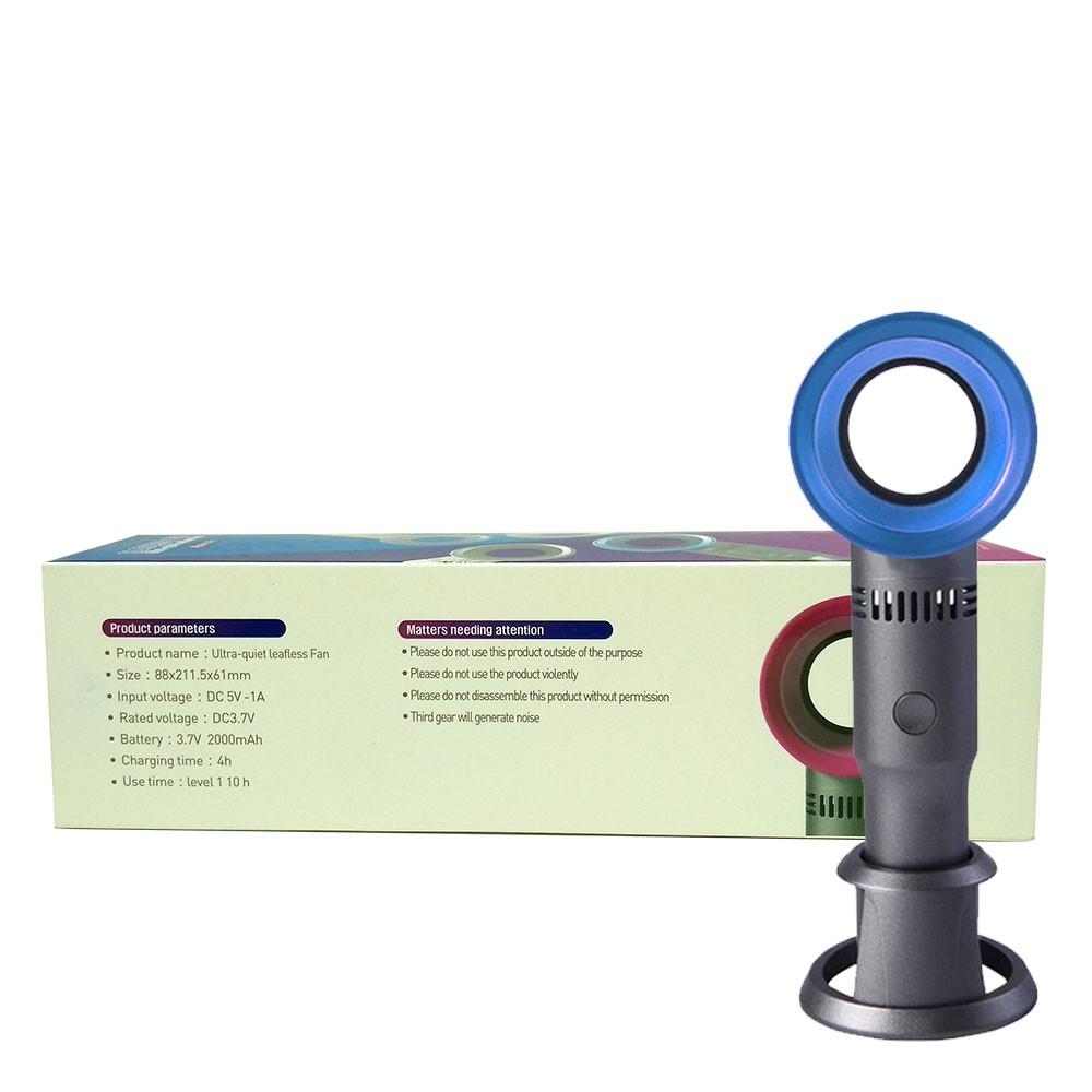 Mini Ventilador Sem Hélices Portátil X9s de Mesa Recarregável Usb 3 Velocidades Azul