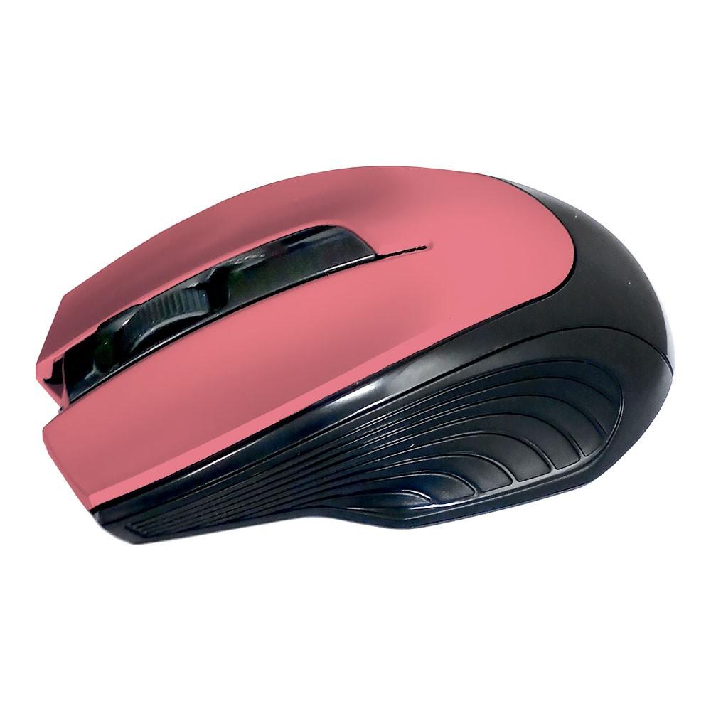 Mouse Óptico Sem Fio 2.4Ghz Wireless 1600Dpi Design Ergonômico Receptor Nano Usb Rosa