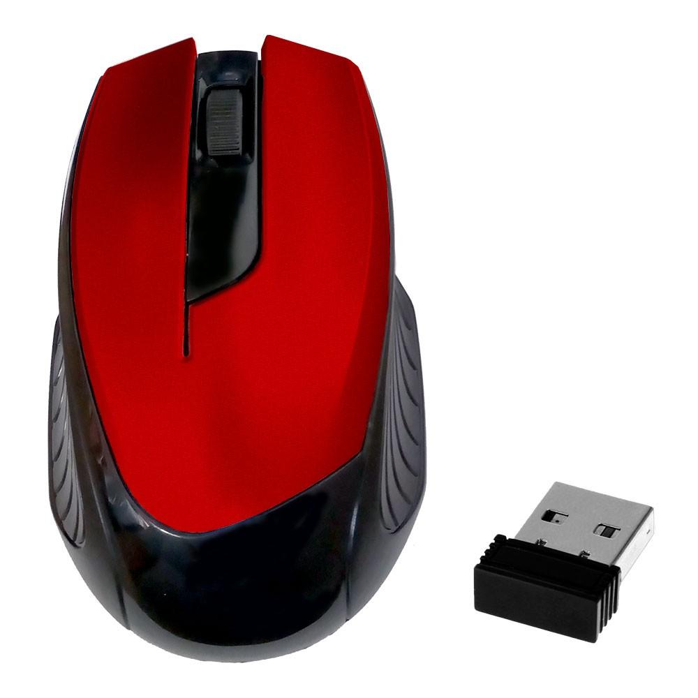Mouse Óptico Sem Fio 2.4Ghz Wireless 1600Dpi Design Ergonômico Receptor Nano Usb Vermelho