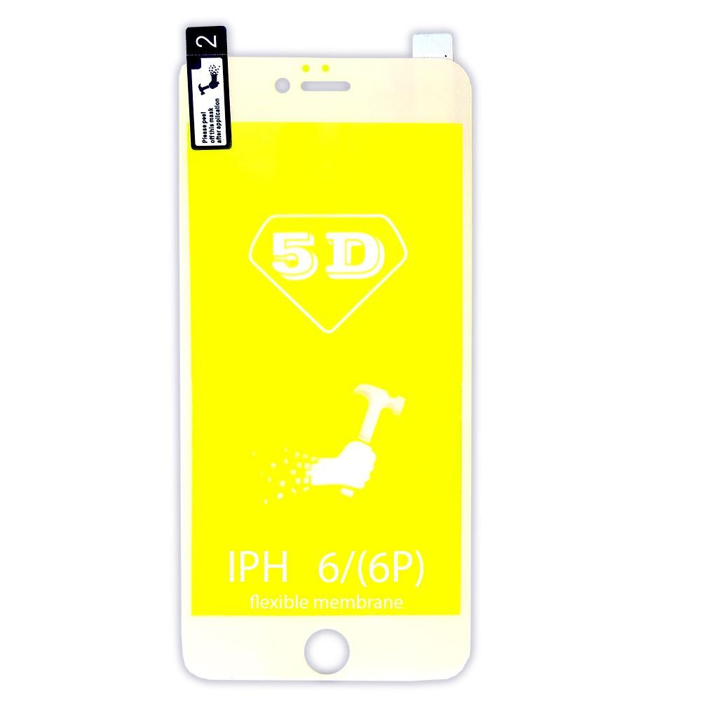Película 5d Nano Gel Proteção Para Iphone 6 Plus e 6S Plus Celular Smartphone Branca