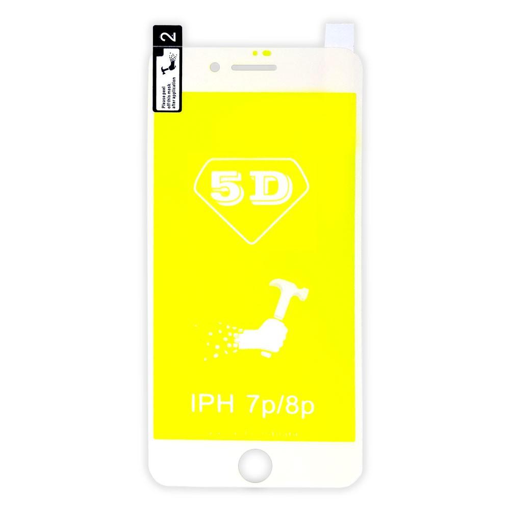 Película 5d Nano Gel Proteção Para Iphone 7 Plus e 8 Plus Celular Smartphone Branco