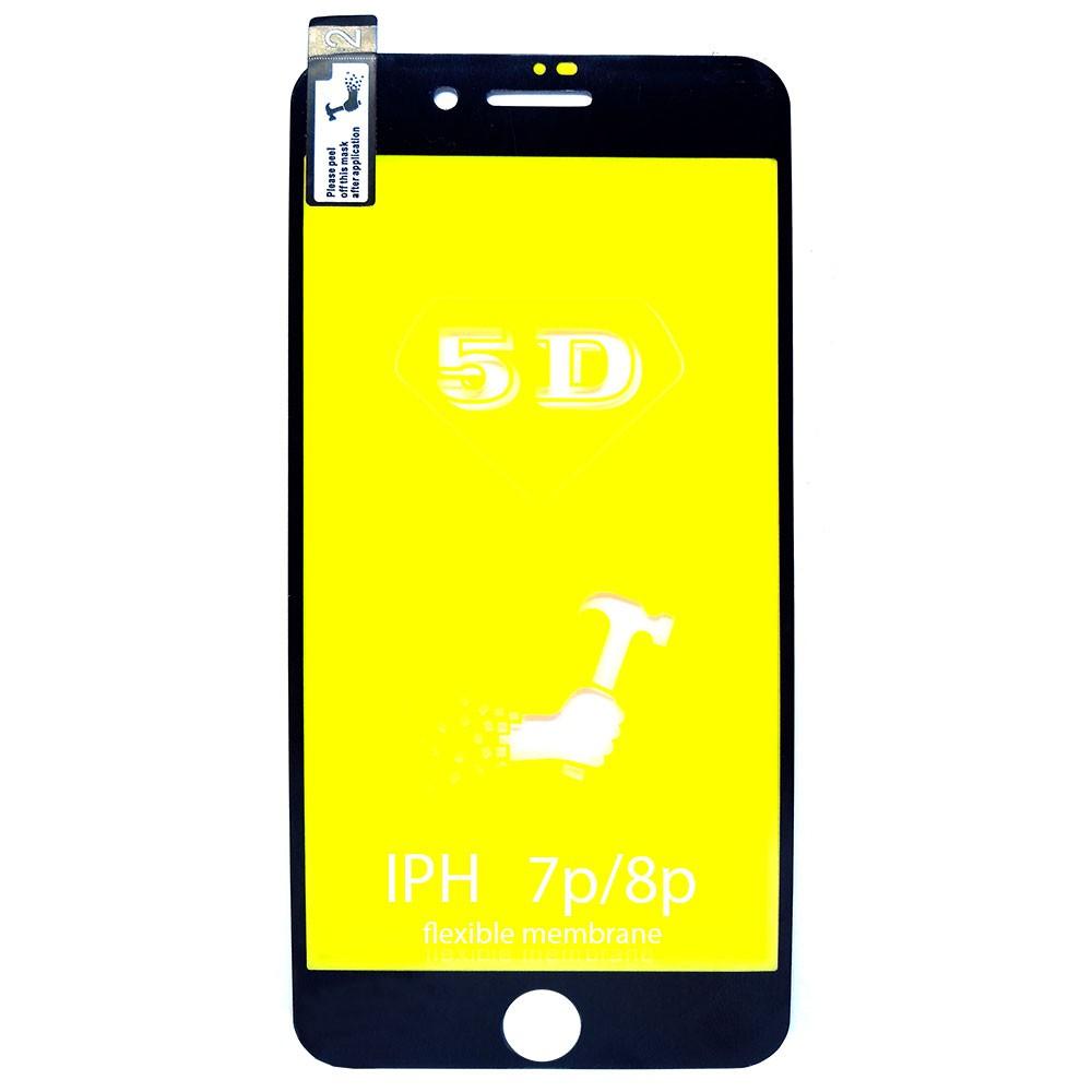 Película 5d Nano Gel Proteção Para Iphone 7 Plus e 8 Plus Celular Smartphone Preto