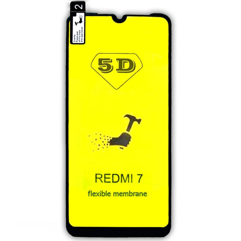 Película 5d Nano Gel Proteção Para Xiaomi Redmi 7 Celular Smartphone Preta