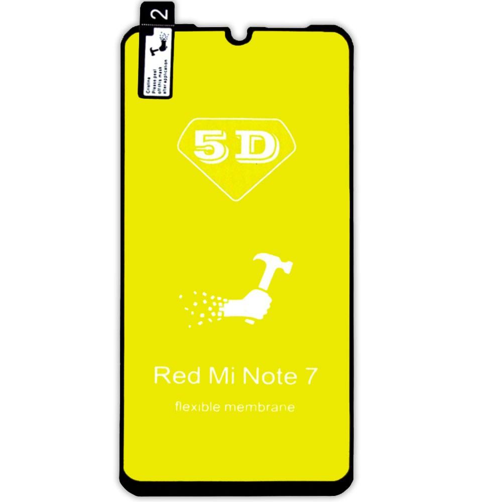 Película 5d Nano Gel Proteção Para Xiaomi Redmi Note 7 Celular Smartphone Preta