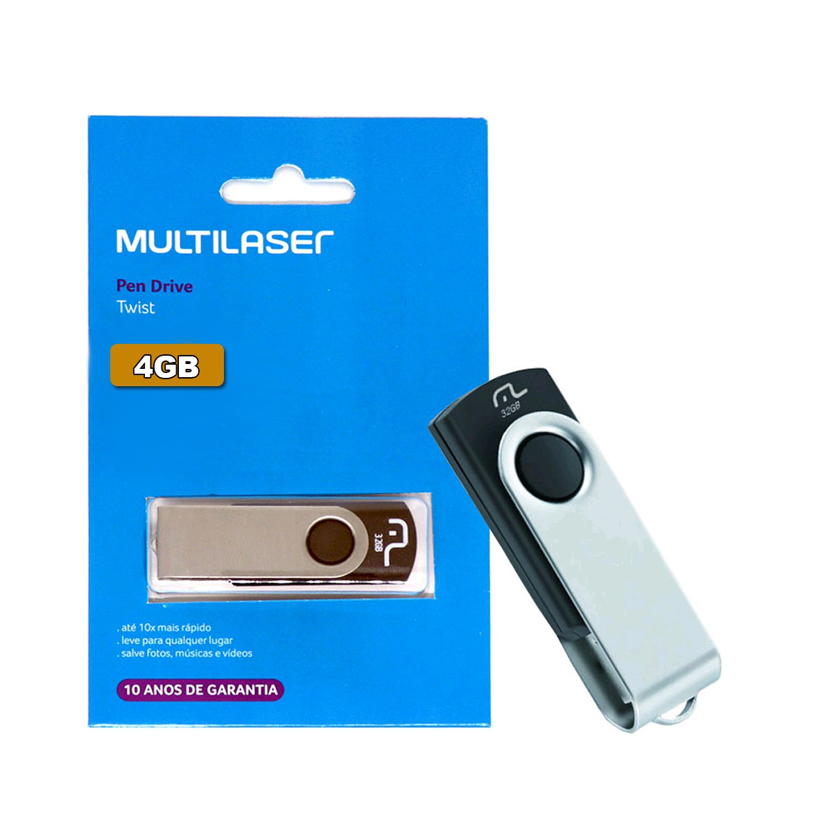 Pen Drive Twist 2.0 4GB USB Leitura 10MB/s e Gravação 3MB/s