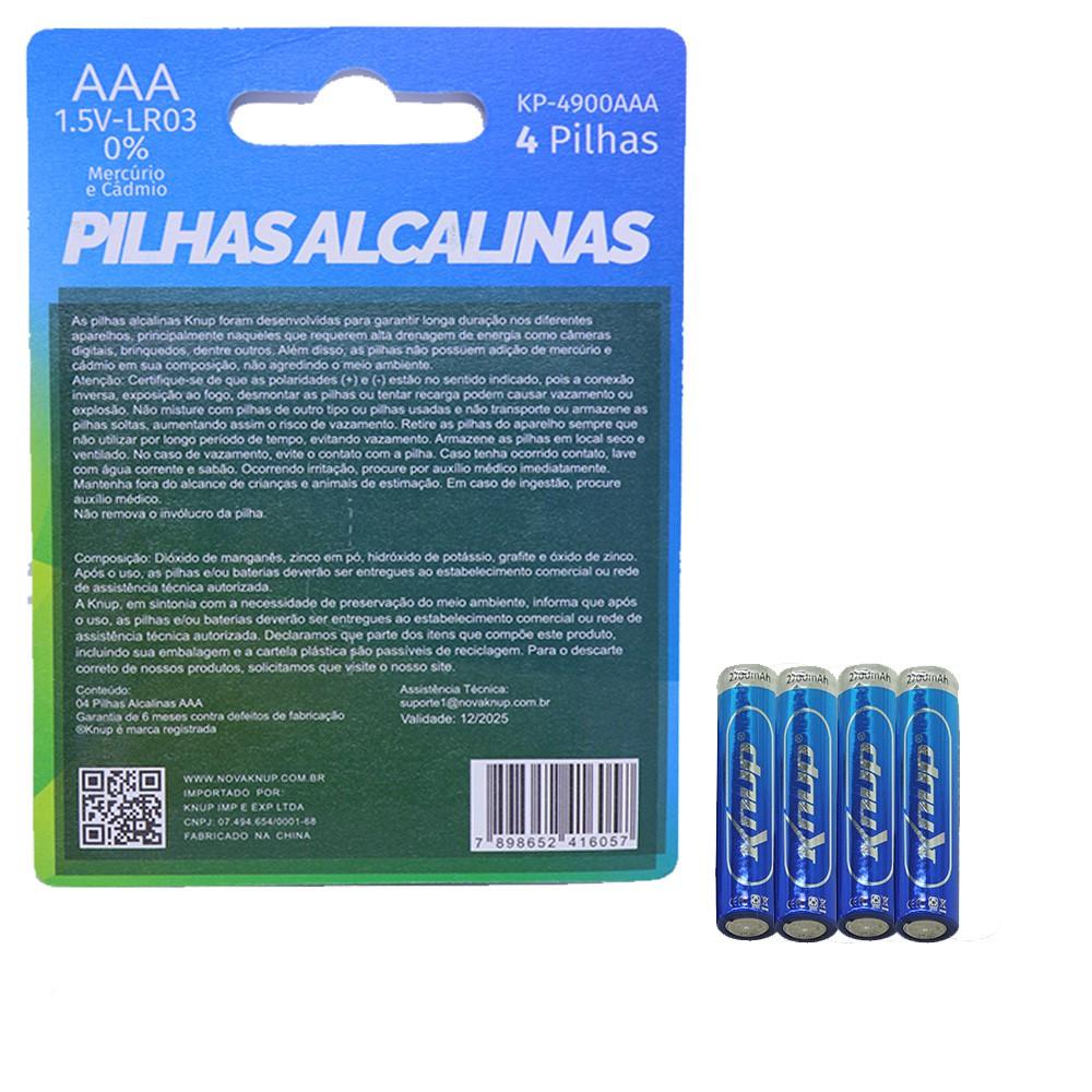 Pilha Alcalina AAA 4 Unidades 1.5V Knup Longa Duração Lacrada