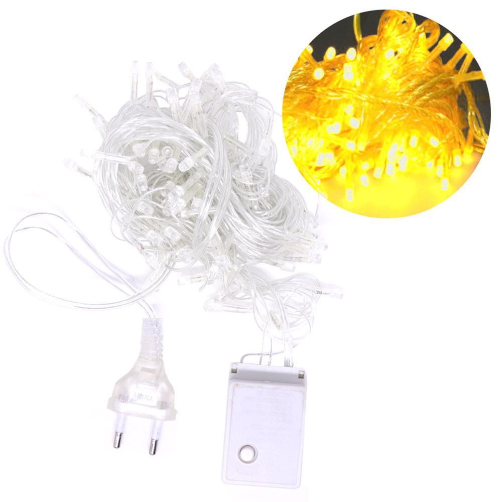 Pisca Pisca 100 Lâmpadas Led 110v 10mt 8 Funções Fio Transparente Natal Enfeite Decoração Amarelo