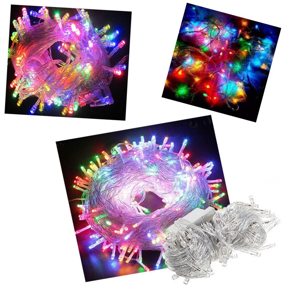 Pisca Pisca 100 Lâmpadas Led 110v 10mt 8 Funções Fio Transparente Natal Enfeite Decoração Colorido