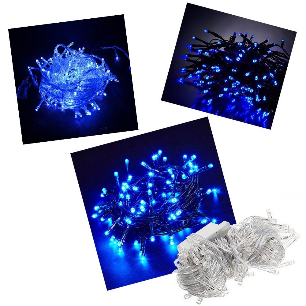 Pisca Pisca 100 Lâmpadas Led 110v 10mt 8 Funções Fio Transparente Natal Enfeite Para Decoração Azul
