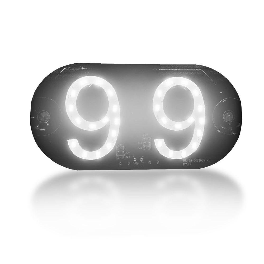 Placa Veicular 99 Pop Letreiro Luminoso 30 Leds Suporte Fixação Vidro Branca