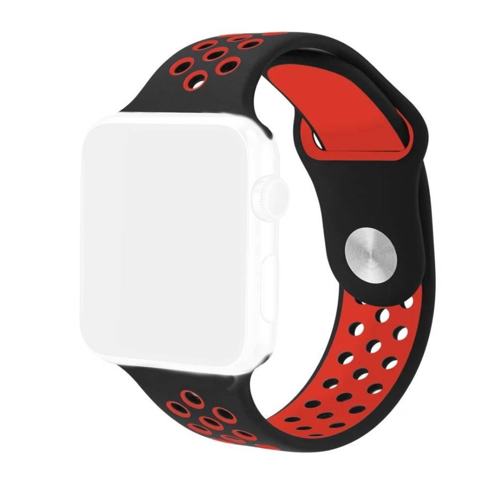 Pulseira Esporte Apple Watch 38mm Preta com Furo Vermelho