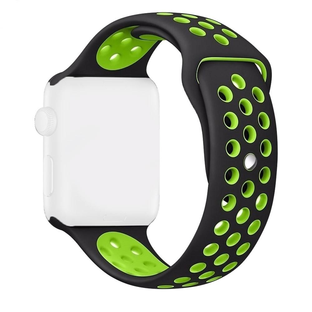 Pulseira Esporte com Furos de Silicone Para Relógio Apple Watch 42mm Series 1 2 e 3 Preto com Furo Verde