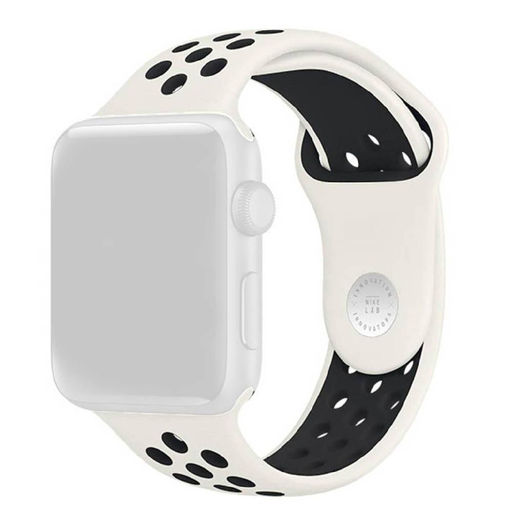 Pulseira Esporte Furos de Silicone Para Relógio Apple Watch 42mm Series 1 2 3 Branco Furo Preto