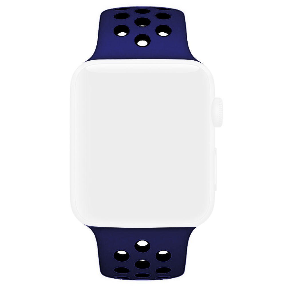 Pulseira Esporte Furos Silicone Para Relógio Apple Watch 42mm 1 2 3 Azul Meia Noite Furo Preto
