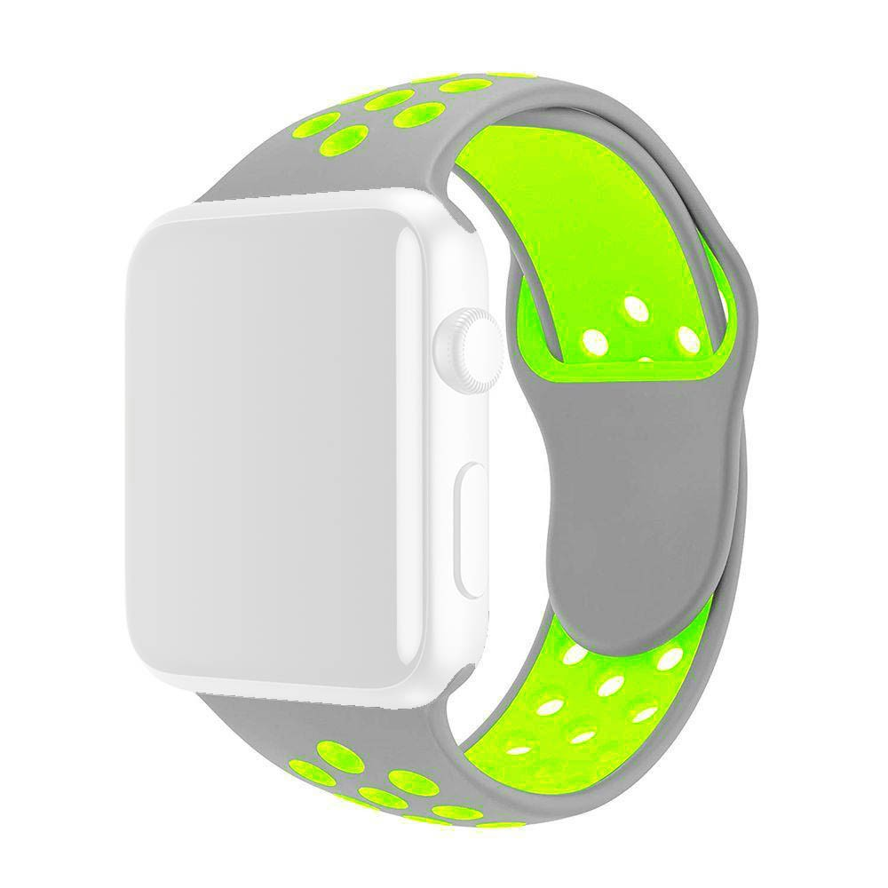 Pulseira Esporte Furos Silicone Para Relógio Apple Watch 42mm Cinza Furo Verde Fluorescente