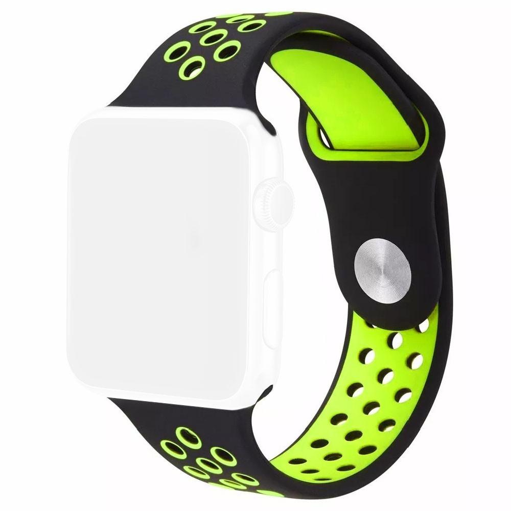 Pulseira Esporte Furos Silicone Para Relógio Apple Watch 42mm Preto Furo Verde Fluorescente