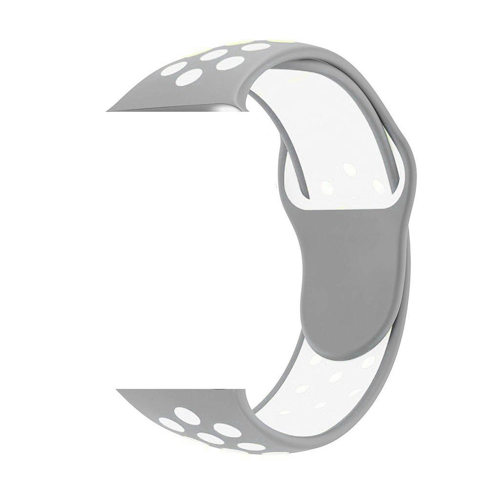 Pulseira Esporte Silicone Apple Watch 38mm Cinza Furo Branco