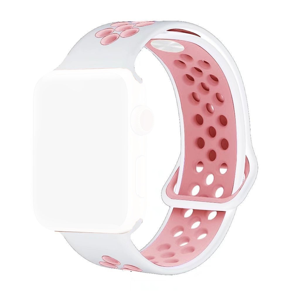 Pulseira Esporte Silicone Furos Para Relógio Apple Watch 38mm Series 1,2 e 3 Branco com Furo Rosa