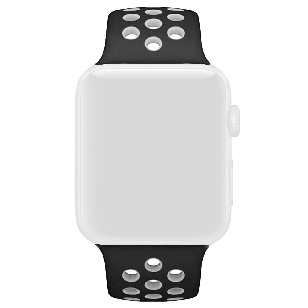 Pulseira Esporte Silicone Furos Para Relógio Apple Watch 38mm Series 1,2 e 3 Preto com Furo Branco
