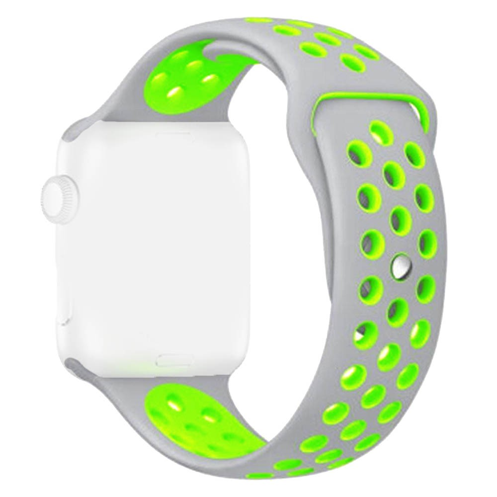 Pulseira Furos Para Apple Watch 38mm Cinza com Furo Verde Fluorescente