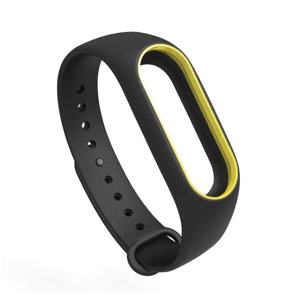 Pulseira Lisa Para Relógio Inteligente Mi Band 3 Xiaomi Smartwatch Preto com Amarelo