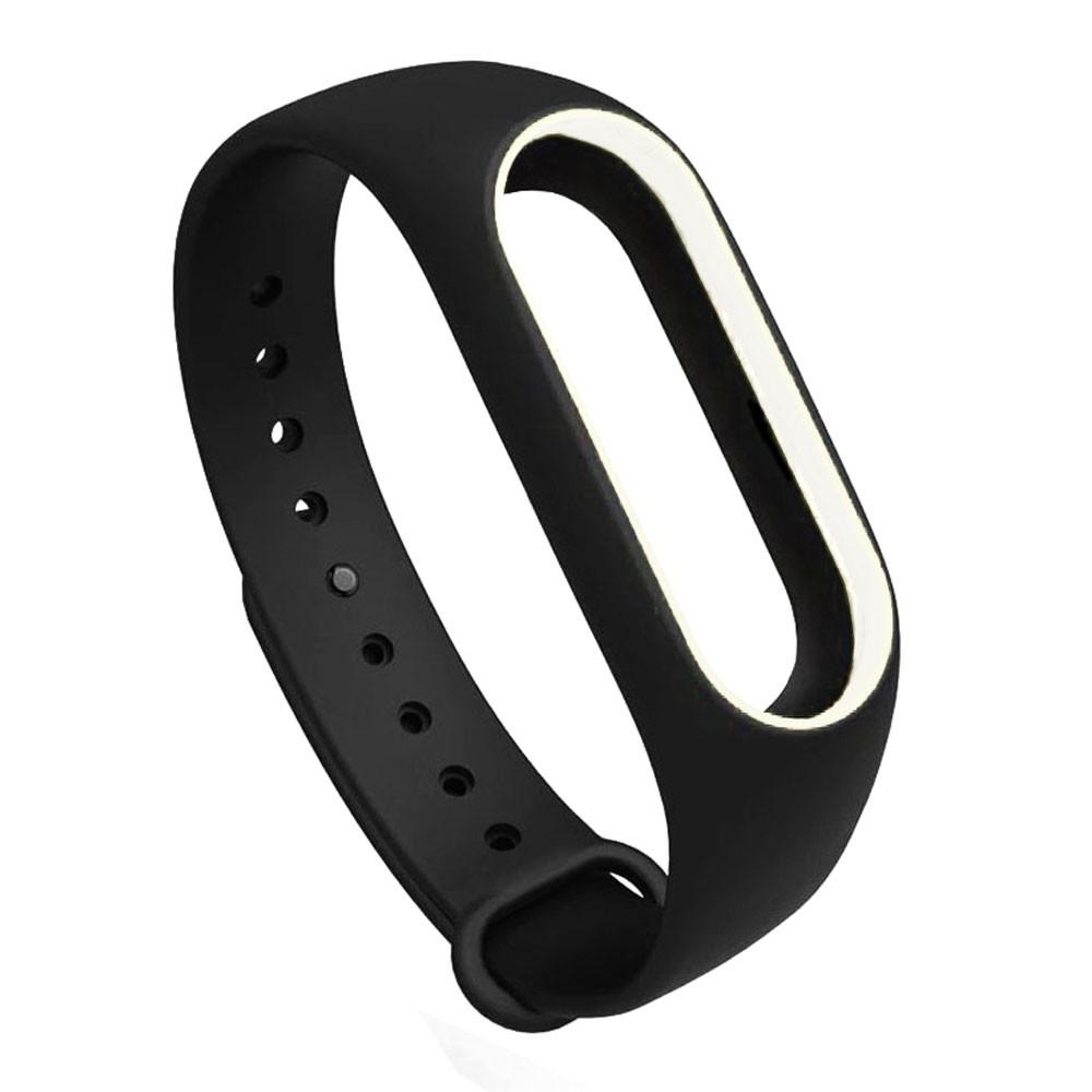 Pulseira Lisa Para Relógio Inteligente Mi Band 3 Xiaomi Smartwatch Preto com Branco
