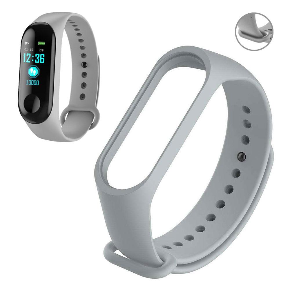 Pulseira Lisa Para Relógio Inteligente Mi Band 3 Xiaomi Smartwatch Silicone Alça Ajustável Cinza