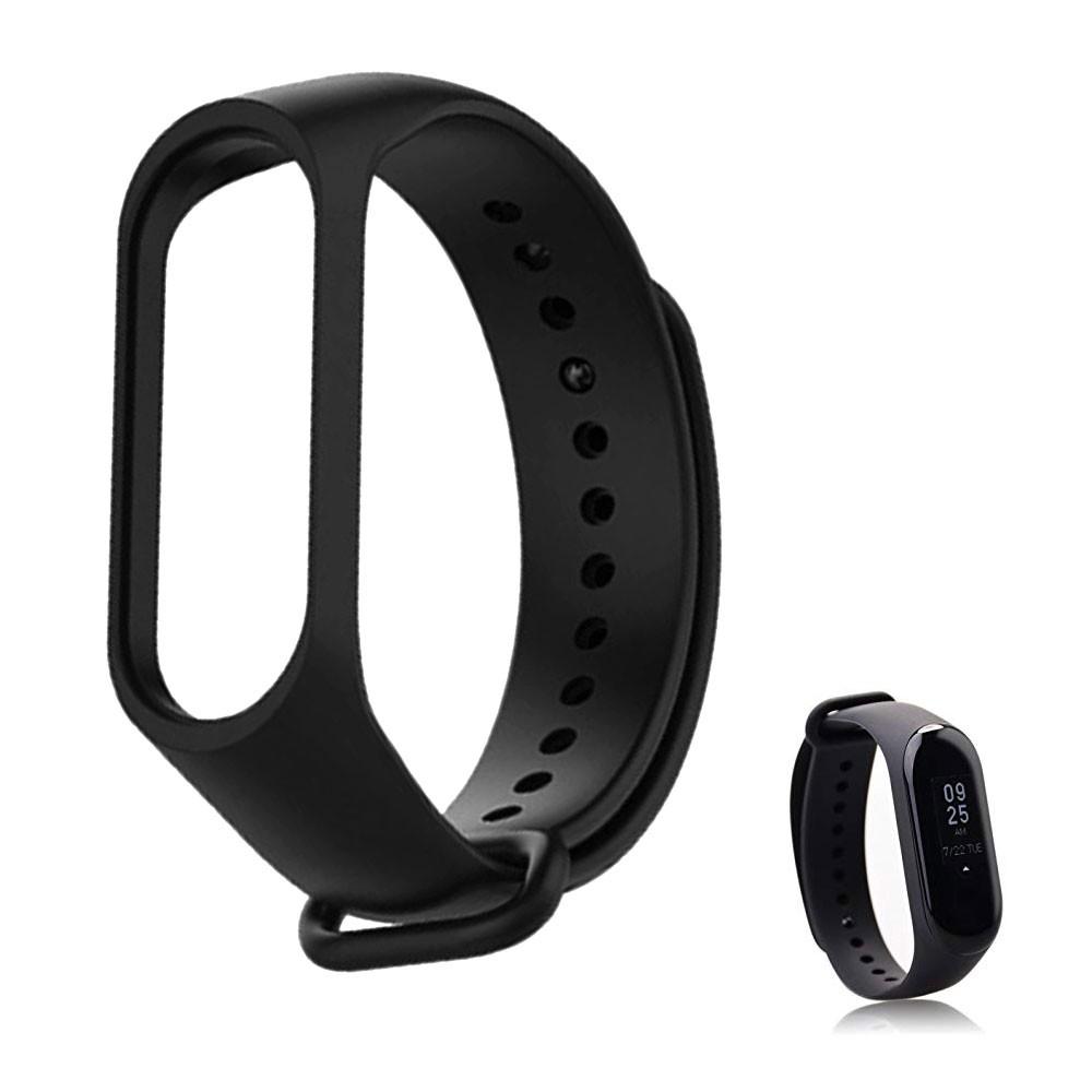 Pulseira Lisa Para Relógio Inteligente Mi Band 3 Xiaomi Smartwatch Silicone Alça Ajustável Preta
