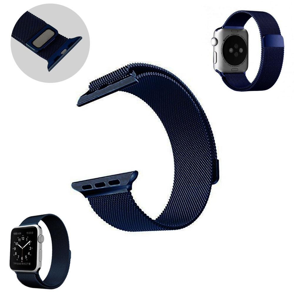 Pulseira Milanês Milanese Aço Loop Metal Apple Watch 42/44mm Series 1 2 3 4 Magnética Azul