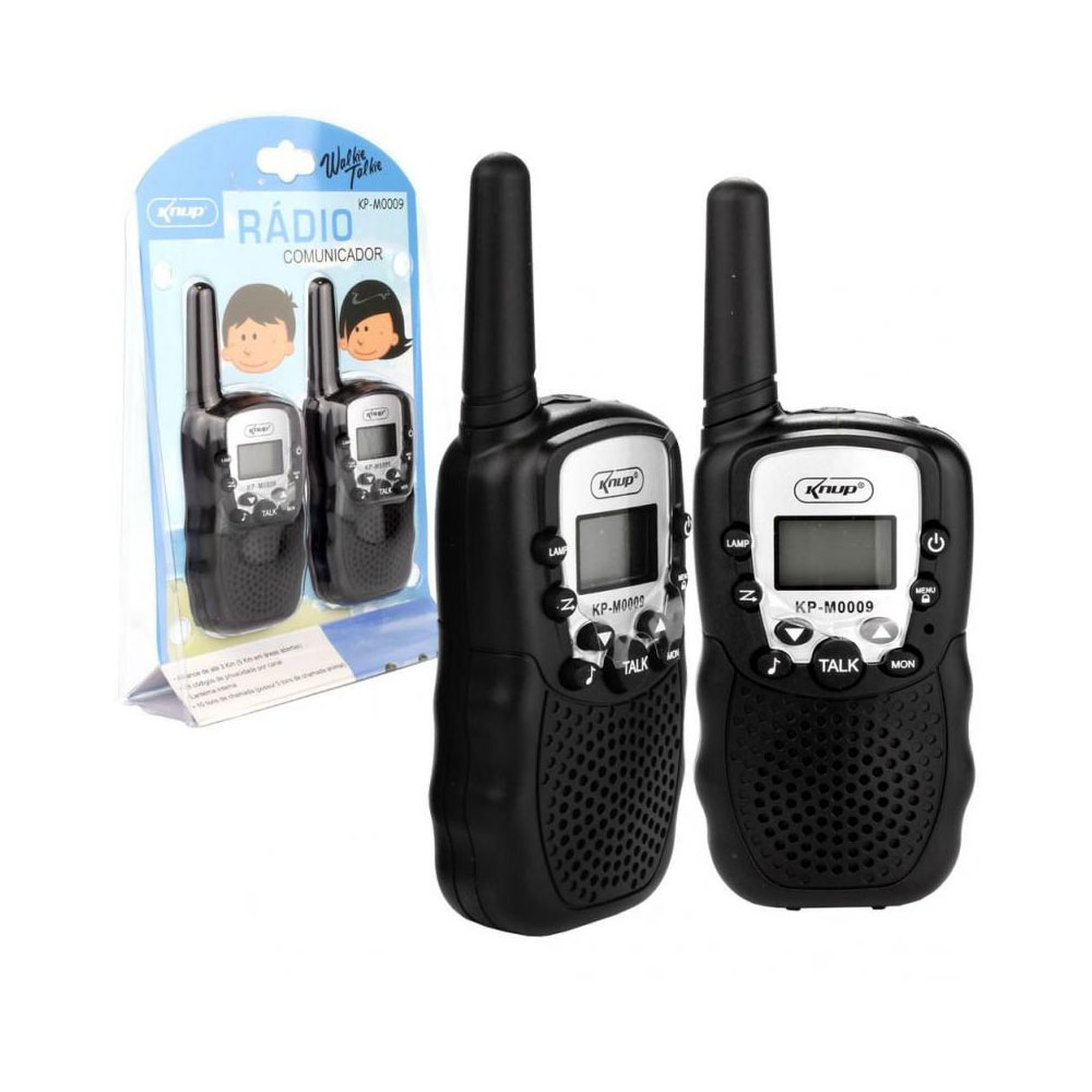 Rádio Comunicador Kp-M0009 Knup Walk Talk Dual 3km Display Lcd Kit Com 2