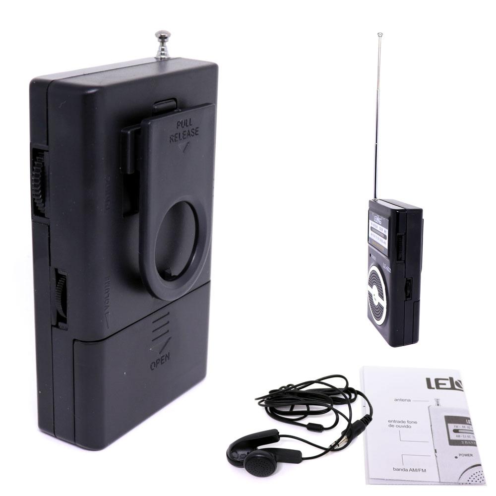 Rádio Portátil AM / FM LE-652 Lelong Mini de Bolso a Pilha com Fone de Ouvido Preto