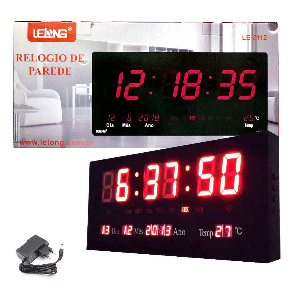 Relógio de Parede Led Vermelho Digital LE-2112 Lelong Temperatura Calendário Alarme Alto Brilho