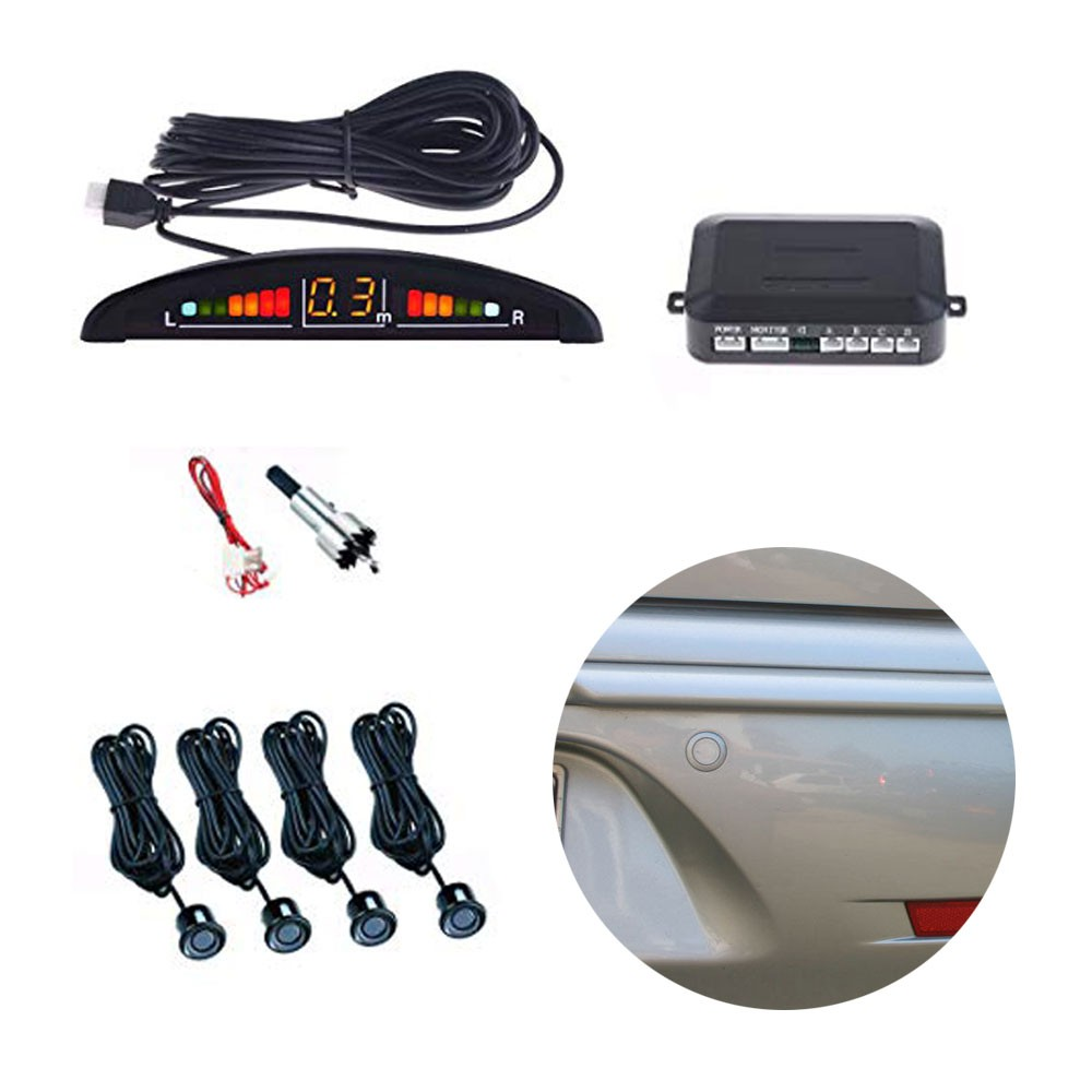 Sensor Estacionamento Ré 4 Sensores Sinal Sonoro Led Preto