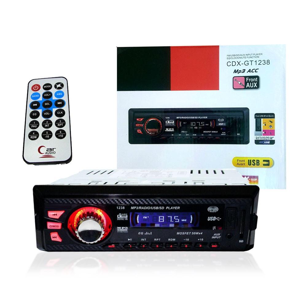 Som Automotivo Rádio Fm JIE-68024 1238 P2 Usb Mp3 Pen Drive Cartão Sd Controle
