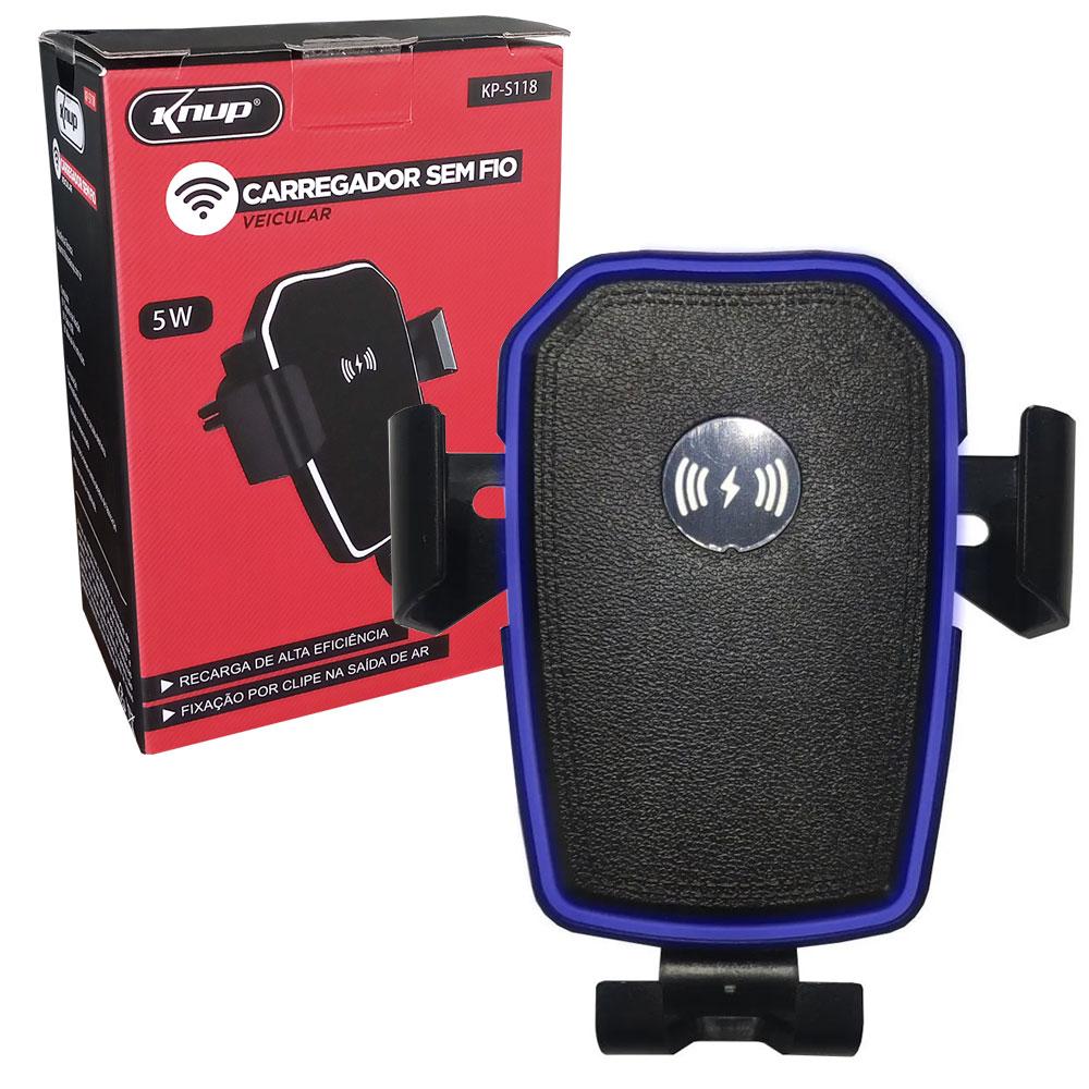 Suporte Celular Veicular com Carregador Sem Fio KP-S118 Knup Clipe QI 5W Ajustável
