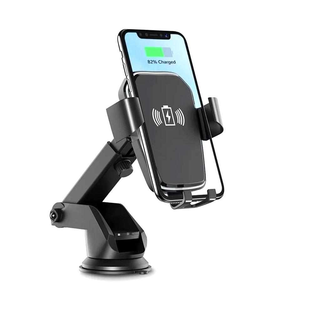 Suporte Celular Veicular com Carregador Sem Fio KP-S119 Knup Ventosa QI 5W Braço Ajustável
