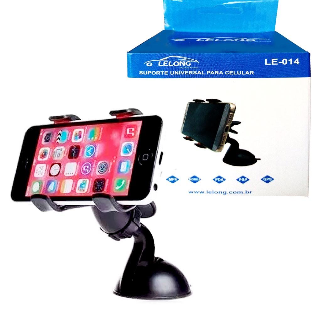 Suporte Universal para Celular e Gps Le-014 Lelong com Ventosa  e Clipe Duplo