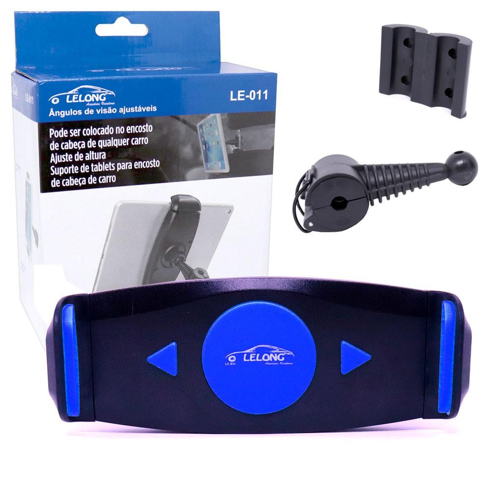 Suporte Universal Veicular de Tablet LE-011 Lelong Para Encosto de Cabeça de Carros Azul