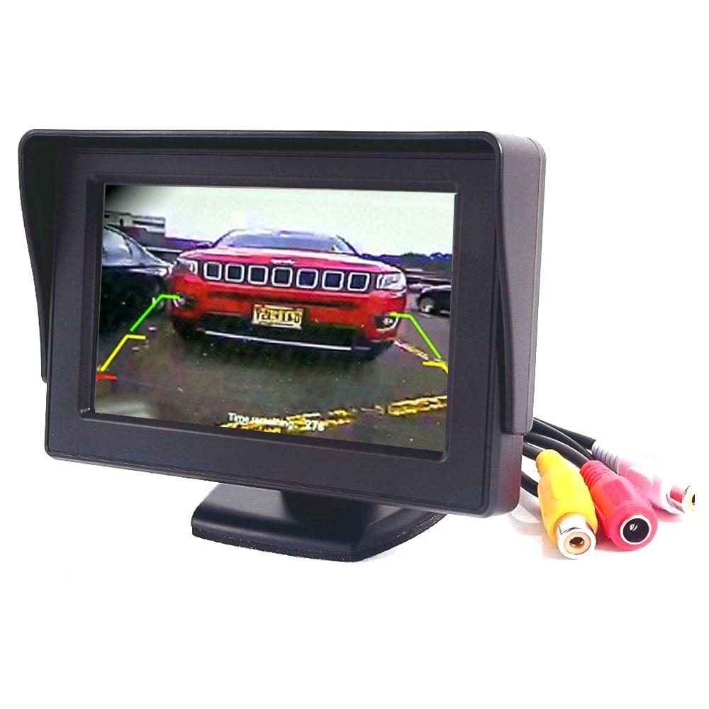 Tela Monitor Lcd Colorido 4,3 Pol Automotivo Veicular Para Câmera de Ré Vídeo Dvd