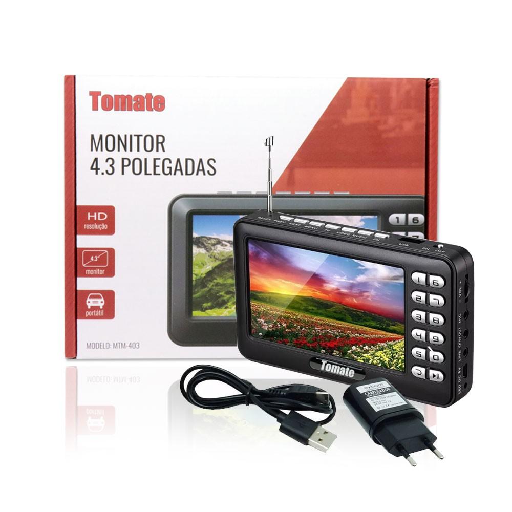 Tv Digital Portátil HD Tela 4.3 Monitor MTM-403 Tomate Usb Sd Rádio FM Recarregável Microfone