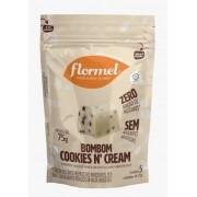 Bombom de chocolate branco c/ cookies'n cream zero - Flormel - 01 pouch c/ 05 bombons
