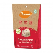 Bombom de chocolate branco c/ cranberry zero vegano - Flormel - 01 pouch c/ 05 unidades