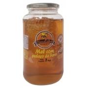 Vidro de mel c/ pedaço de favo 01 kg - Favo de mel - 01 un