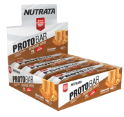 Barra de proteína protobar amendo whey sabor manteiga de amendoim c/ amendoim - Nutrata - cx c/ 08 un.